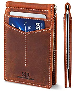 SERMAN BRANDS RFID Blocking Wallet Slim Bifold - Genuine Leather Minimalist Front Pocket Wallets for Men with Money Clip  Canyon Red Rogue