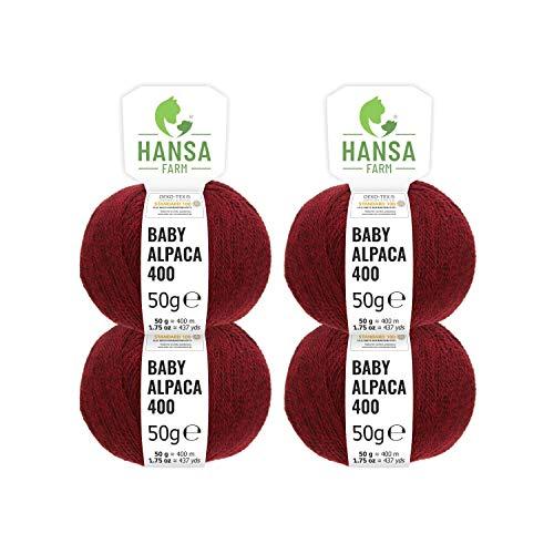 100% laine d'alpaga (bebé) dans 50+ couleurs (ne gratte pas) - Kit de 200g (4 x 50g) - Laine Baby alpaga pour tricot & crochet dans 6 épaisseurs de fil - rouge vin (heather)