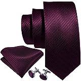 Barry.Wang Herren-Krawatte aus massiver Seide, Einstecktuch, Manschettenknöpfe, für Hochzeit, Business, formell Gr. Einheitsgröße, burgunderfarben