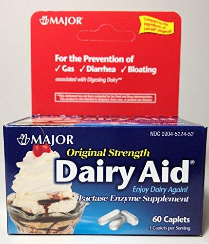 Major Original Strength Dairy Aid Lactase Enzyme Suppliment - 60 Caplets