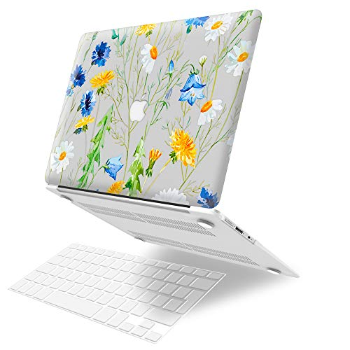 MacBook Air 13 inch Case (Models: A1369 & A1466, Older Version 2010-2017 Release), JGOO Plastic Hard Shell Case Laptop Cover with Keyboard Cover Compatible with MacBook Air 13 inch, Daisy Flower