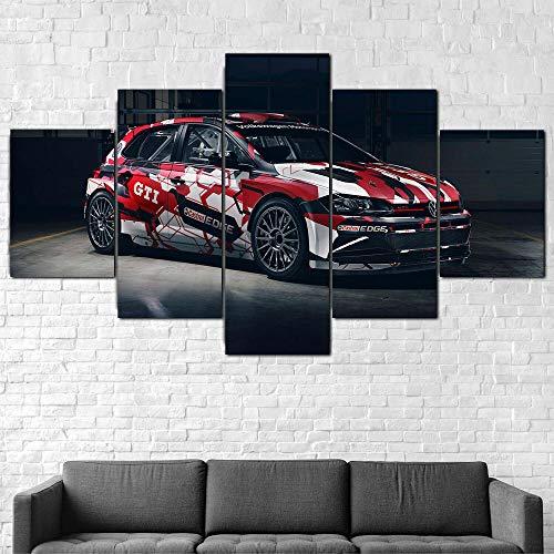 IMXBTQA Cuadro En Lienzo,Imagen Impresión,Pintura Decoración,Canvas De 5 Pieza,175X80Cm,Volkswage Polo GTI R5 Coche Mural Moderno Decor Hogareña con Marco