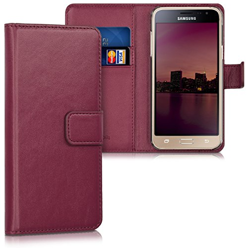kwmobile Hülle kompatibel mit Samsung Galaxy J3 (2016) DUOS - Kunstleder Wallet Hülle mit Kartenfächern Stand in Bordeaux