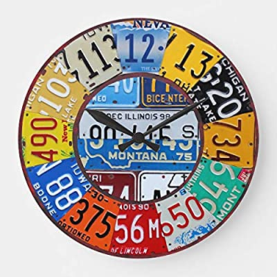 License Plate Clock Vintage Numbers Car Tag Art Wooden Decorative Round Wall Clock