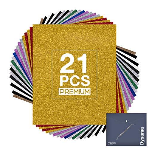 "HTV Glitter Heat Transfer Vinyl Sheet,21 Pack -12""x 10"" Glitter Iron on Vinyl for T-Shirt - Starter HTV Bundle with Accessories Tweezers for Cricut, Silhouette Cameo"