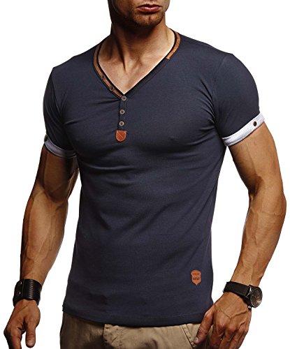 Leif Nelson Herren T-Shirt V-Ausschnitt Sweatshirt Longsleeve Basic Shirt Hoodie Slim Fit LN1390; Größe L, Blau