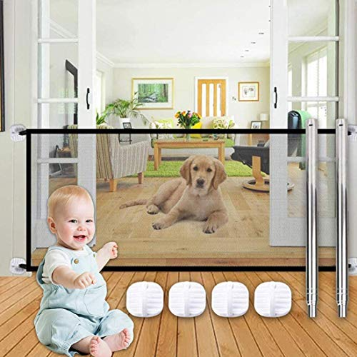 Elibeauty Magic Gate for Dogs, Folding Safe Stair Gate Isolation Net Baby Safety Fence Install Anywhere,Pet Safety Enclosure Away from Kitchen/Upstairs/Indoor(110x72cm / 43.3x 28.3inch)