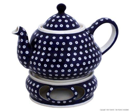 Original Bunzlauer Keramik Teekanne 1,5 Liter mit integriertem Sieb und Stövchen im Dekor 42