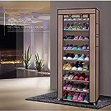 10 capas de acero inoxidable zapatero hogar organizador para zapatos estante...