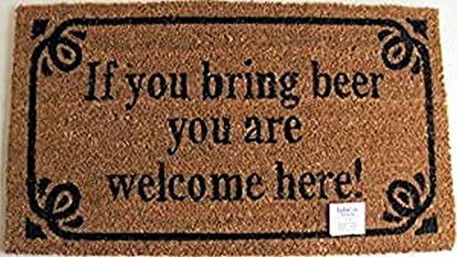 La Finesse DM23 Decorativo Coir Alfombra de Puerta de Entrada, If You Bring Beer, You Are Welcome Here, 70 cm x 40 cm