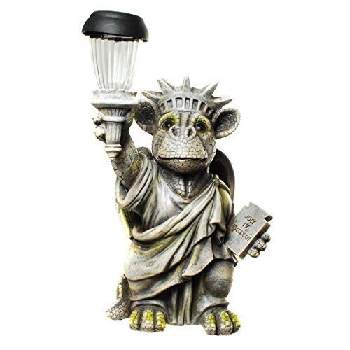 Kremers Schatzkiste Drachenkind Freiheitsstatue mit Solar Laterne Drache Figur Gartenfigur