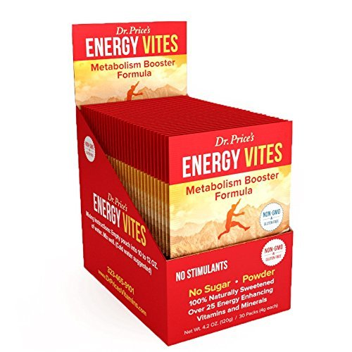 Energy Vites: Metabolism Booster Formula + Complete B Complex, Biotin, L-Tyrosine, B12 & CoQ10 for Natural Energy & Focus | (30 powder packets) Energy Drink Mix | 100% Non-GMO & Gluten Free, No Sugar, No Caffeine | Dr. Price's Vitamins