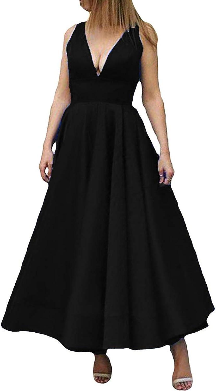 Kivary Deep V Neck A Line Ankle Length Corset Backless Formal Prom Evening Dress