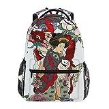 Mochila de lona de gran capacidad para la escuela, diseño de dragón de geisha japonés, ideal para niños, adultos, adolescentes, mujeres y hombres