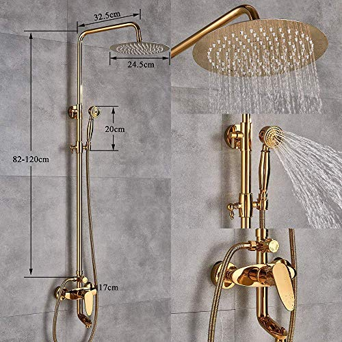 """NMDCDH Shower Set Golden Finish Dual Handle Switch Hot&Cold 8"""" Rain Showerhead Bath and Shower Faucet Set Mixer Tap Wall Mounted"""