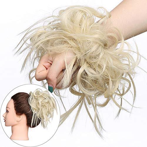 Haar Extensions Haarverlängerung Haarteil Dutt Haargummi Hochsteckfrisuren wie Echthaar 45 G Gebleichtes Blond