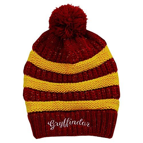 Harry Potter Beanie Gryffindor Stripe / Rib Pom Pom Rot