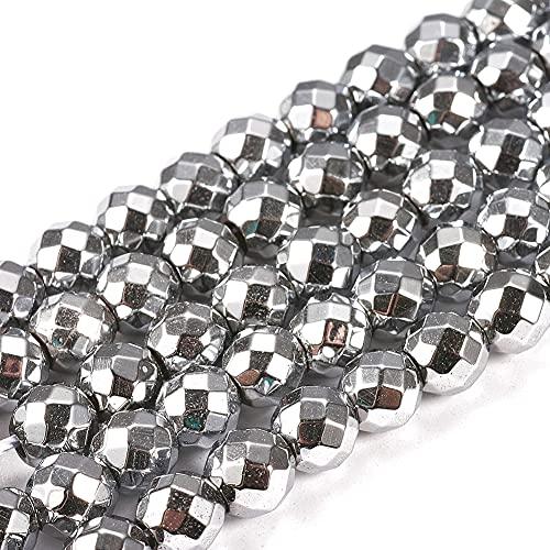 Cheriswelry 10 hebras de 6 mm de hematita (no magnética) de cuentas de platino y hematites sintéticos tallados espaciadores de piedra para la fabricación de joyas, 68 piezas/hebra