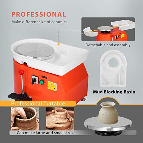 VIVOHOME 25CM Pottery Wheel Forming Machine 350W Electric DIY Clay Tool with Foot Pedal and Detachable Basin for Ceramic Work Art Craft Orange