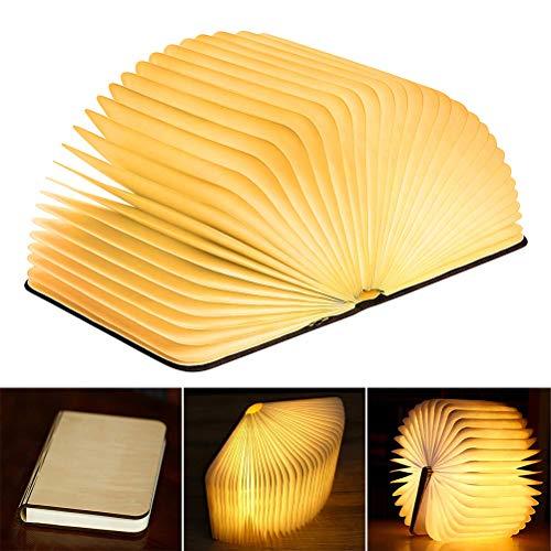 TAIPPAN Holz Buch Lampe USB wiederaufladbare Nachttischlampe dekorative Nachtlicht kreative magnetische Lampe LED Faltbare Mini Schreibtisch Licht für Wohnzimmer Dekor