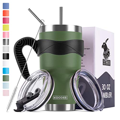 Koodee 30 oz Tumbler Stainless Steel Vacuum Insulated Coffee Travel Mug with 2 Lids, 2 Straws, Brush,Handle (30 oz Army Green)