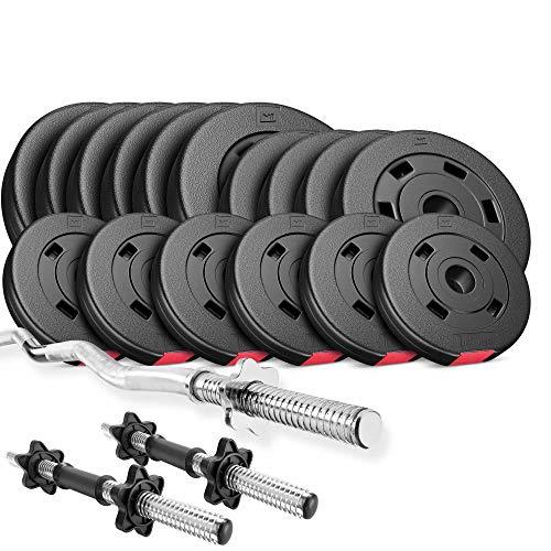 Hop-Sport Hantelset 56 kg, 1x SZ Stange, 2X Kurzhanteln, Hantelscheiben 6x5kg/4x2,5kg/6x1,25kg
