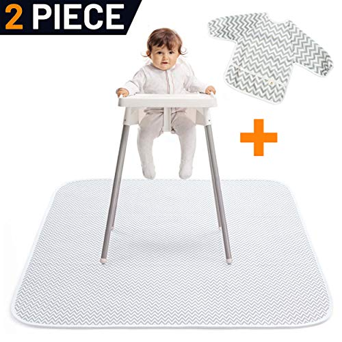 "Pearly Tale Waterproof Baby Splat Mat for Under High Chair (51"" x 51"") with Toddler Smock and Weaning Ebook - Large Non-Slip Infant High Chair Mat Food Catcher Protects Floor from Mealtime Messes"