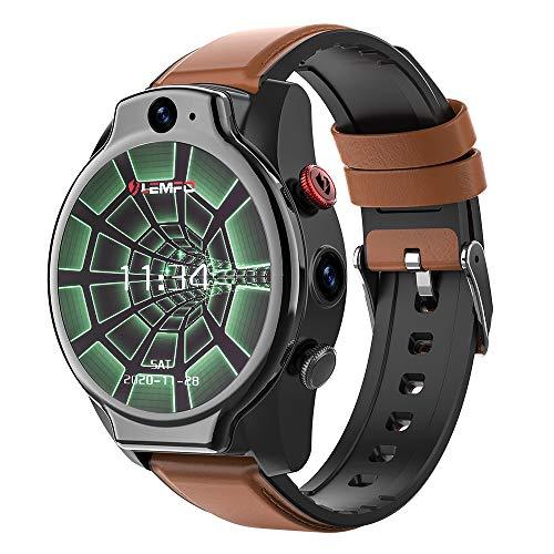 LEM14 SmartWatch Android 10 IP68 Impermeable 4G Reloj Inteligente Hombre GPS 1.6 pulgadas 1100mah Batería Dual Camera Face ID 64G MingYuChangHu (Color: Marrón)