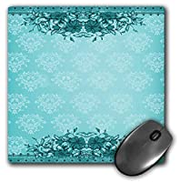 3dRose Mouse Pad Pretty Tourquoise Vintage Flower and Damask Design - 8 by 8-Inches (mp_78320_1) [並行輸入品]