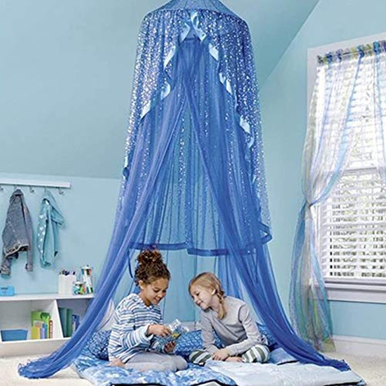 Baby Bed Sky Deco Canopy Mosquito Net Kids Princess Play Tents Decoration for Kids Room 270cm (color   bluee)