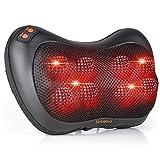 Almohada de masaje, masajeador eléctrico con 8 bolas de masaje y amasamiento térmico, cu...