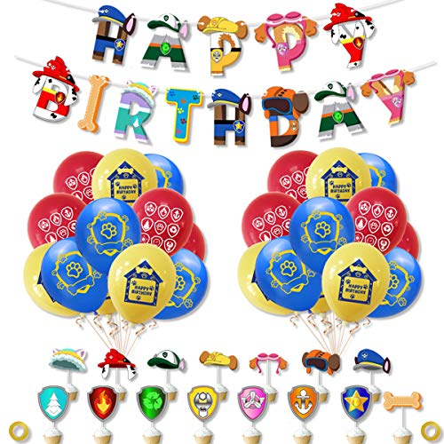 SUNSK Luftballon Geburtstag Dekoration Set für Paw Dog Patrol Latexballon Happy Birthday Banner Kuchen Toppers für Paw Dog Patrol Tortendeko 36 Stück