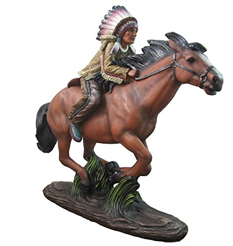 'Ride The Wind' Indian Riding Horse Figurine By DWK | Native American Statues Sculptures and Figurines for Home Decor Or Office