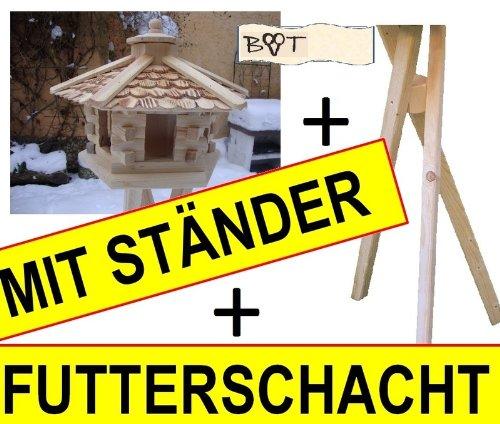 Vogelhaus, Futterhaus, Holz massiv, NATUR-Vogelhäuser in PREMIUMQUALITÄT, Vogelfutterhaus in Größe 44 cm ngOS - 4
