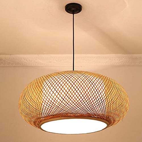 2020 Bamboe Shade, Shade Suspended, Shade In rotan rieten weven een DIY Opknoping Lamp (Net niet op blaren),40x20cm