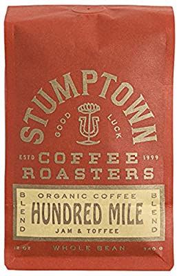 Stumptown Coffee Roasters Organic Bag Flavor Notes of Jam and Toffee, Hundred Mile - Whole Bean, 12 Ouncey