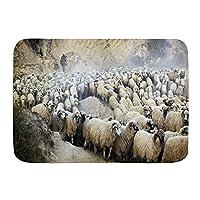 WOTAKA バスマット 風呂マット 移動農村多数のヴィンテージ美しい羊飼いの群れ羊の群れグループ 足拭きマット 吸水 速乾 滑り止め 浴室 洗面所 脱衣所 風呂 台所 キッチン玄関マット(45x75cm)