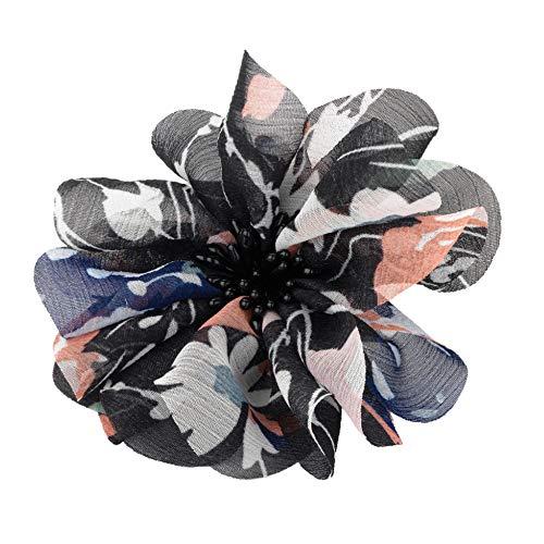 Grand noir Tone Floral Print couches fleur cheveux pince bec diapositive Bibi