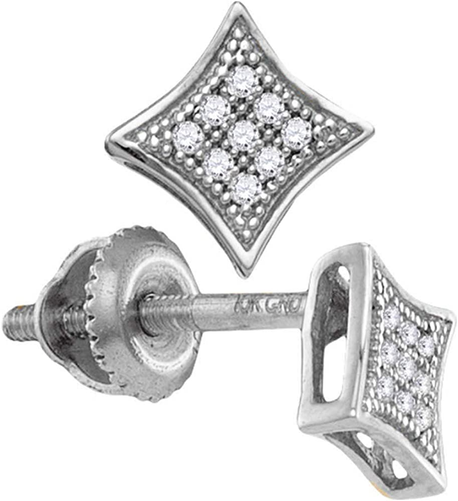 Saris and Things Superlatite 10kt White Gold Diamond Round Square Kit Womens Limited time sale