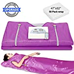 DoCred Sauna Blanket, Professional Far-Infrared Digital Heat Sauna Heating Blanket with 50pcs Plastic Sheetings, 2 Zone Controller, Anti Ageing Beauty Machine for Body Shape Slimming Weight Detox Sp