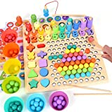 XREXS Wooden Peg Board Bead Game, Counting and Sorting Toys for Toddlers, Montessori Educational Toys, Number Shape Puzzle Magnetic Fishing Game Learning Toy for Kids
