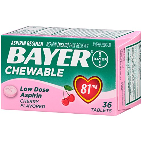 Aspirin Regimen Bayer, 81mg Chewable Tablets, Pain Reliever, Cherry, 36 Count