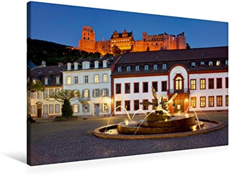 Calvendo Premium Textil-Leinwand 90 cm x 60 cm quer, Karlsplatz in Heidelberg   Wandbild, Bild auf Keilrahmen, Fertigbild auf echter Leinwand, Leinwanddruck Orte Orte