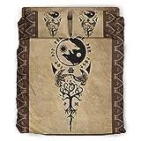 superyu Colcha VIKINGS TATTOO Ravens Yin Yang Wolf - Juego de edredón de 4 piezas para amigos (203 x 230 cm), color blanco