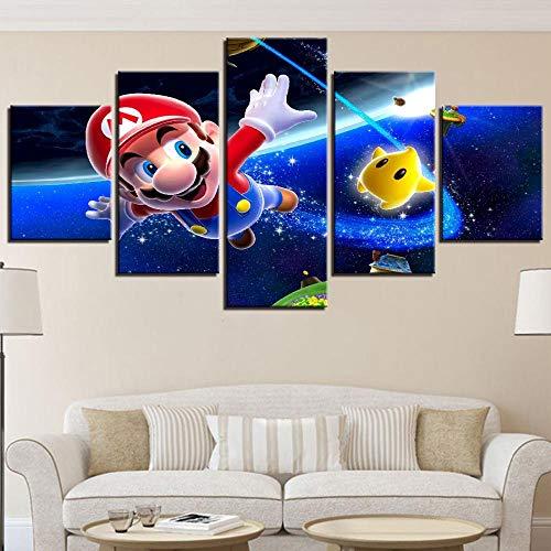 5 Stücke Cartoon Anime Poster Kunst Leinwand Wandkunst Modulare Spiel Super Mario Bild Wohnkultur Malerei Kinderzimmer(size 2)