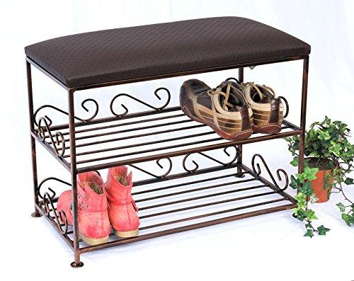 DanDiBo Schuhregal mit Sitzbank Art.165 Bank 60cm Schuhschrank aus Metall Schuhablage Schuhbank
