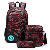 School Backpacks for Boys Girls Bookbag Teens Backpack Set with Shoulder Bag and Pencil Case (Red 1)