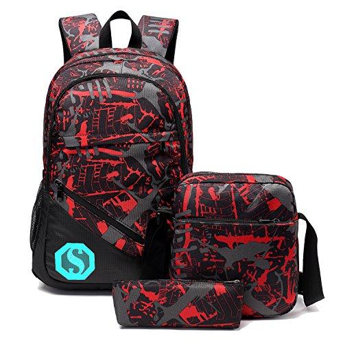 School Backpacks for Boys Girls Bookbag Teens Backpack Set with Shoulder Bag and Pencil Case (Red 1)