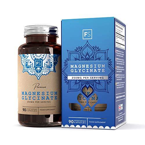 FS Magnesiumglycinat Kapseln 1250mg | 90 Vegan Kapseln | Magnesium Glycinate Supplement für Einen Besseren Schlaf | SEHR BIOVERFÜGBARES Magnesium | Nicht abführend | Nicht - GVO und Gltenfrei