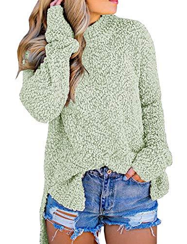 MEROKEETY Women's Long Sleeve Sherpa Fleece Knit Sweater Side Slit Pullover Outwears Mint